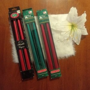 Holiday Metallic Taper Christmas 12 inch Candles